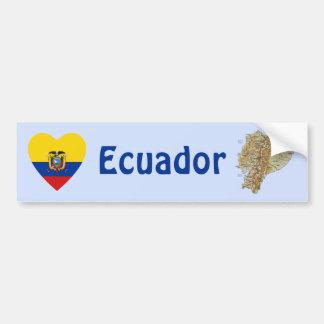 Corazón de la bandera de Ecuador + Pegatina para e Pegatina Para Auto