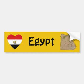Corazón de la bandera de Egipto + Pegatina para el Etiqueta De Parachoque