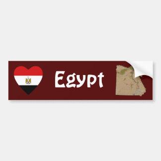 Corazón de la bandera de Egipto + Pegatina para el Pegatina Para Auto