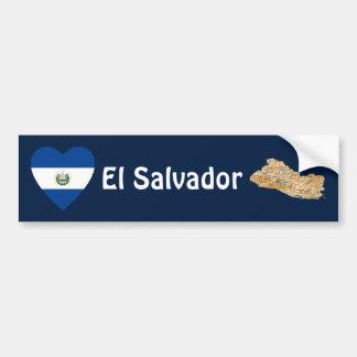 Corazón de la bandera de El Salvador + Pegatina pa Pegatina Para Auto