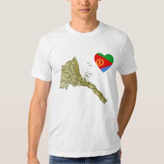 Corazón de la bandera de Eritrea y camiseta del Playera