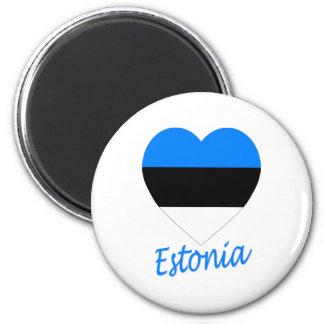 Corazón de la bandera de Estonia Imán Redondo 5 Cm