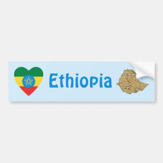 Corazón de la bandera de Etiopía + Pegatina para e Pegatina Para Auto