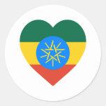 Corazón de la bandera de Etiopía Pegatina Redonda