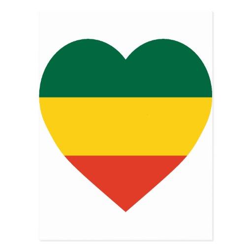 Corazón de la bandera de Etiopía Tarjetas Postales