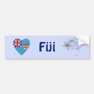 Corazón de la bandera de Fiji + Pegatina para el p Pegatina Para Auto