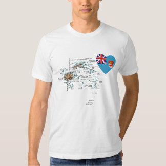 Corazón de la bandera de Fiji y camiseta del mapa Polera