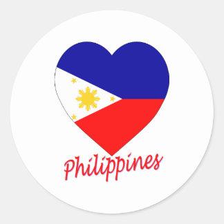 Corazón de la bandera de Filipinas Pegatina Redonda