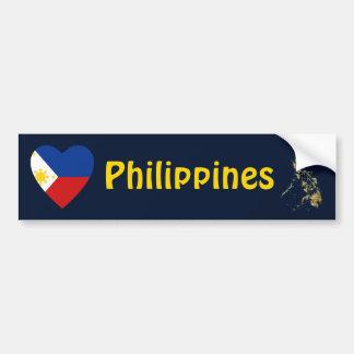 Corazón de la bandera de Filipinas + Pegatina para Pegatina De Parachoque