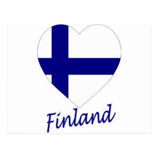 Corazón de la bandera de Finlandia Tarjeta Postal