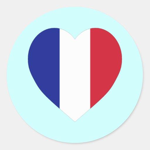 Corazón de la bandera de Francia Pegatina Redonda
