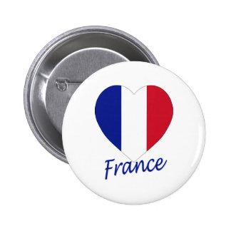 Corazón de la bandera de Francia Pins