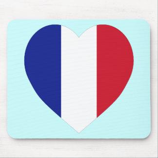 Corazón de la bandera de Francia Tapete De Raton