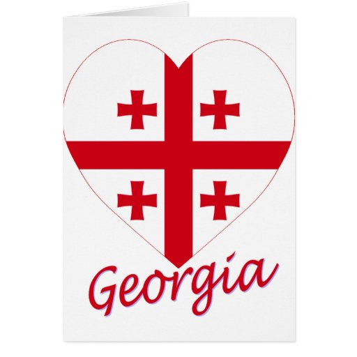 Corazón de la bandera de Georgia Tarjeta De Felicitación