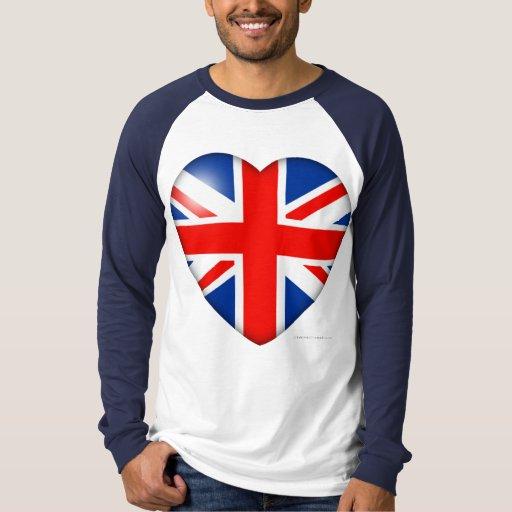 Corazón de la bandera de Gran Bretaña Remera