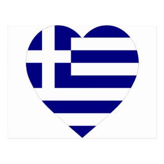 Corazón de la bandera de Grecia Tarjeta Postal