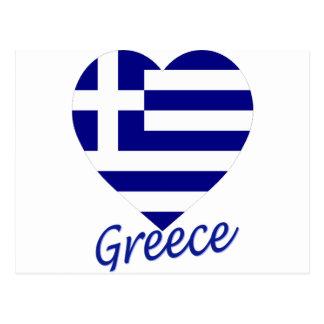 Corazón de la bandera de Grecia Postal