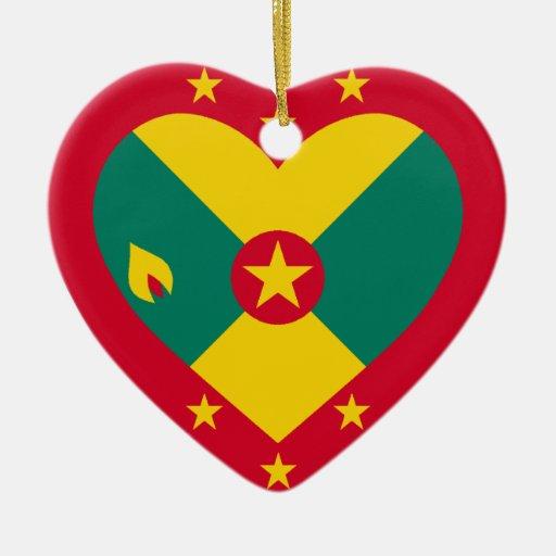 Corazón de la bandera de Grenada Adornos