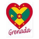 Corazón de la bandera de Grenada Postales