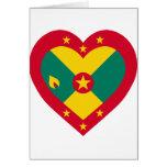Corazón de la bandera de Grenada Tarjetas