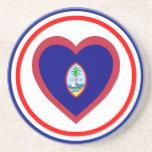 Corazón de la bandera de Guam Posavasos Manualidades