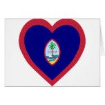 Corazón de la bandera de Guam Tarjeton