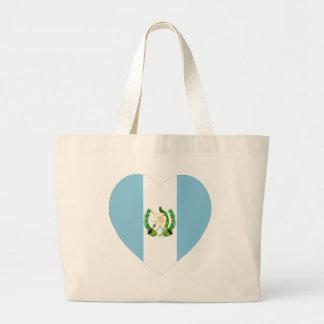 Corazón de la bandera de Guatemala Bolsa Tela Grande