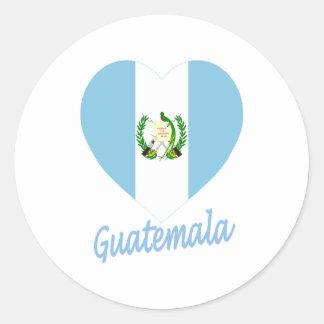 Corazón de la bandera de Guatemala Pegatina Redonda
