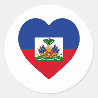 Corazón de la bandera de Haití Pegatina Redonda