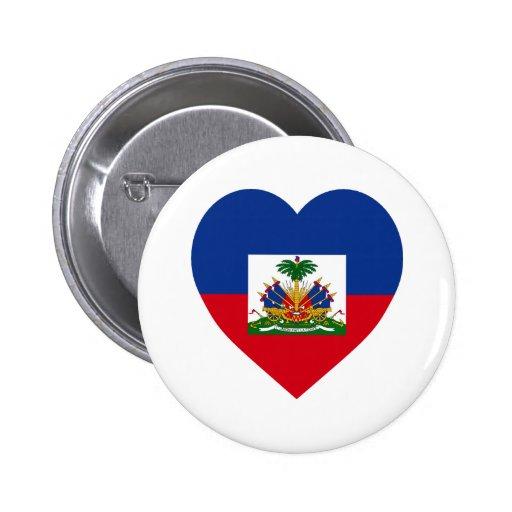 Corazón de la bandera de Haití Pin Redondo 5 Cm