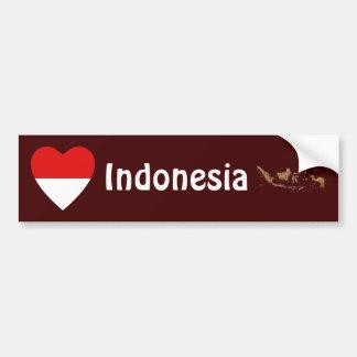 Corazón de la bandera de Indonesia + Pegatina para Pegatina De Parachoque