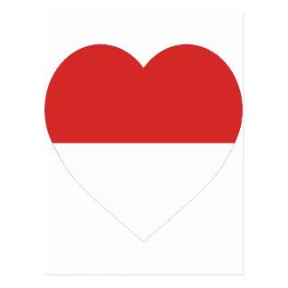 Corazón de la bandera de Indonesia Postal