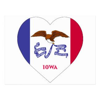 Corazón de la bandera de Iowa Postales