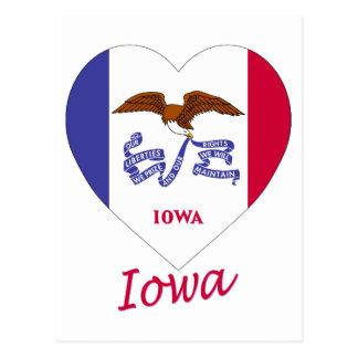 Corazón de la bandera de Iowa Tarjeta Postal