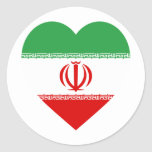 Corazón de la bandera de Irán Etiqueta Redonda