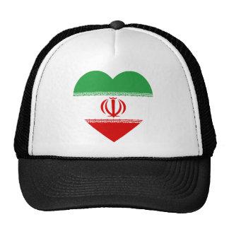 Corazón de la bandera de Irán Gorras