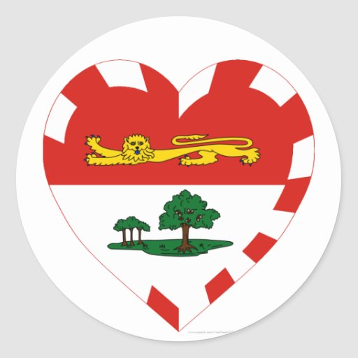 Corazón de la bandera de Isla del Principe Eduardo Pegatina Redonda