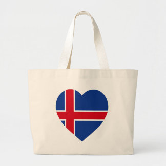 Corazón de la bandera de Islandia Bolsas Lienzo