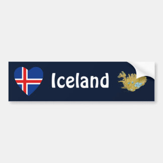 Corazón de la bandera de Islandia + Pegatina para Pegatina Para Auto