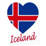Corazón de la bandera de Islandia Postal