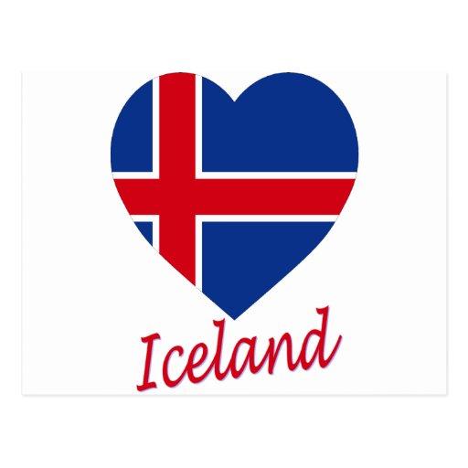 Corazón de la bandera de Islandia Tarjeta Postal