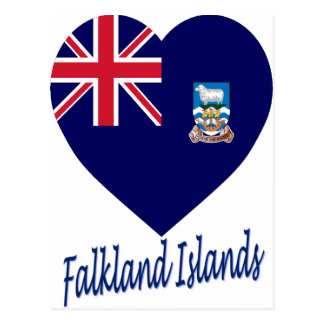 Corazón de la bandera de Islas Malvinas Tarjetas Postales