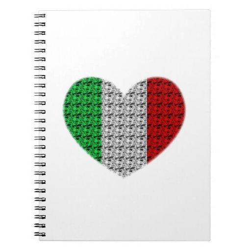 Corazón de la bandera de Italia Cuadernos