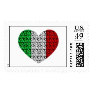 Corazón de la bandera de Italia Estampillas