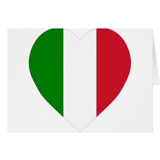Corazón de la bandera de Italia Felicitacion
