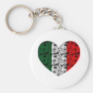 Corazón de la bandera de Italia Llavero Redondo Tipo Pin