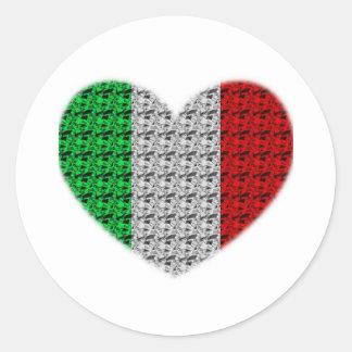Corazón de la bandera de Italia Pegatina Redonda