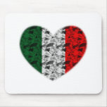 Corazón de la bandera de Italia Tapetes De Ratones