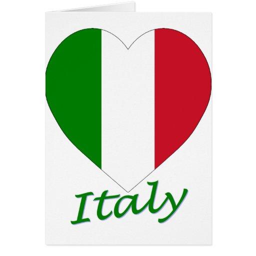 Corazón de la bandera de Italia Tarjetas