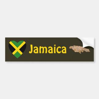 Corazón de la bandera de Jamaica + Pegatina para e Pegatina Para Auto
